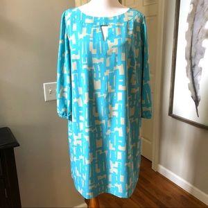 Tahari aqua and tan lined shift dress size 14W
